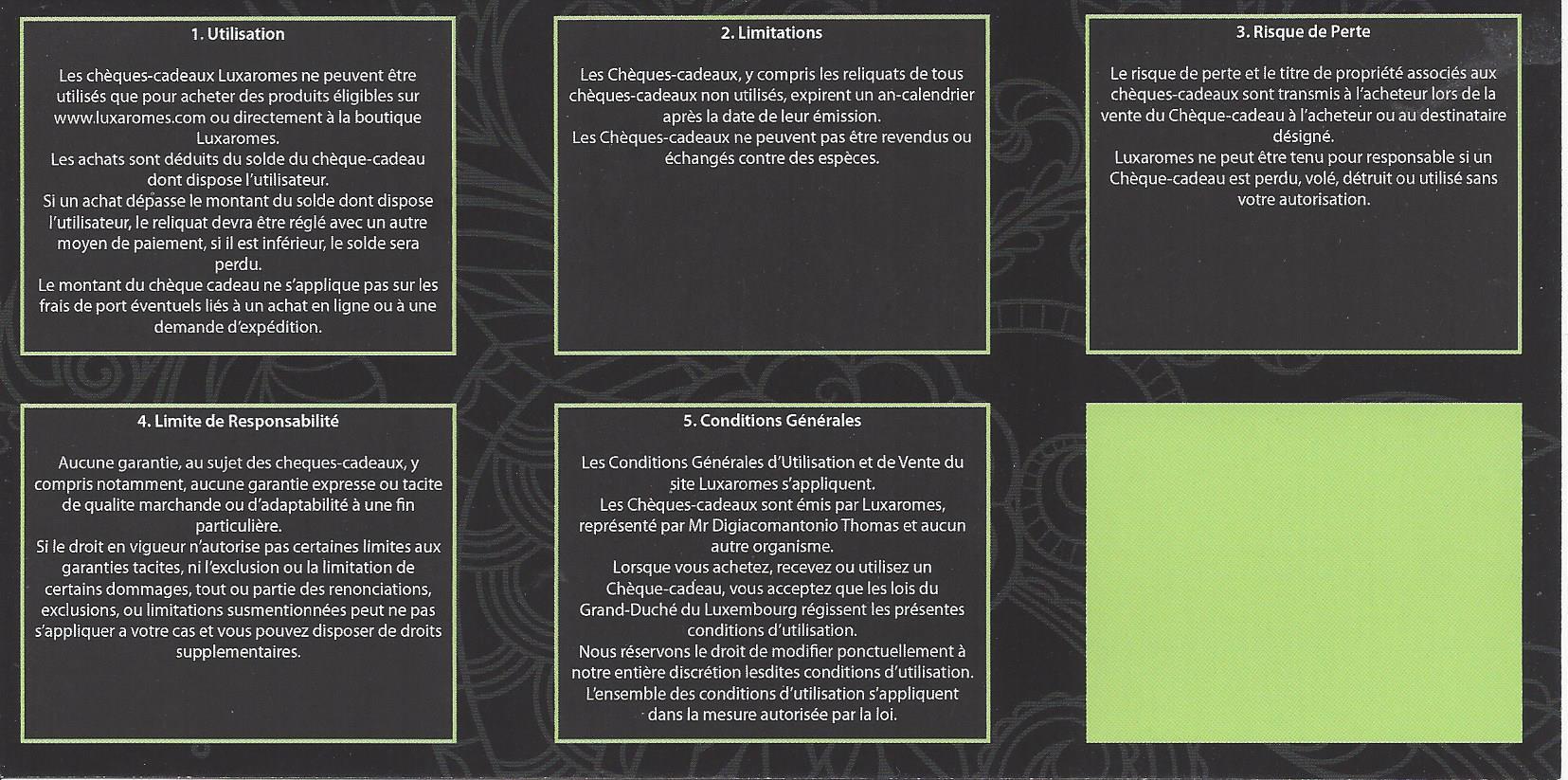 Chèque cadeau-Luxaromes- Conditions